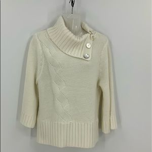 Sundance cable knit ribbed button Cowlneck Sweater